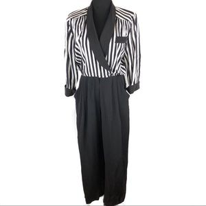 Vintage stripes pants jumpsuit